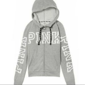 VS PINK Gray Perfect Funnel Neck Full Zip Hoodie